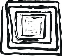 Abstract spiral squared black and white doodle charcoal