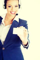 Customer service representative holding businesscard.