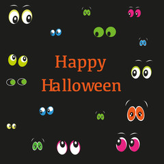 Happy Halloween greeting card with colorful eyes