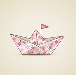 Paper boat and flowers