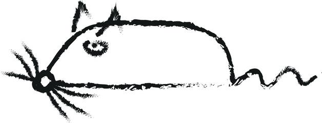 rat simple doodle charcoal