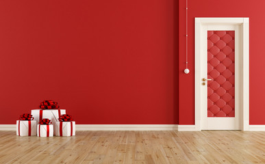 Red christmas room