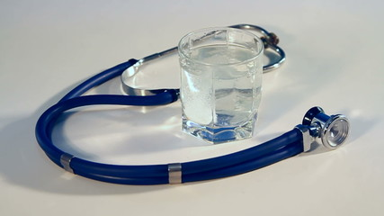 glass and stethoscope