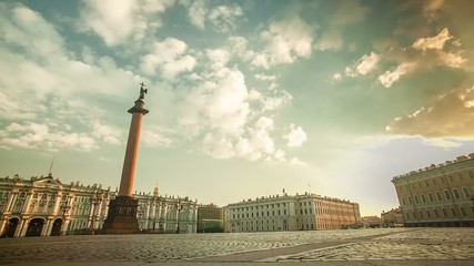 Palace Square St. Petersburg Morning Time Lapse