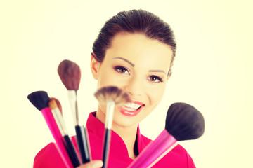 Happy make-up artist
