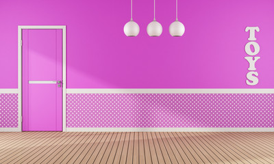 Pink playroom with door