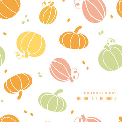 Vector thanksgiving colorful pumpkins silhouettes frame corner