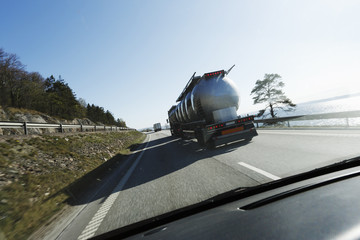 car following fuel-truck, perspective from car cabin