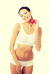 Happy Fit female with red heart shaped toy