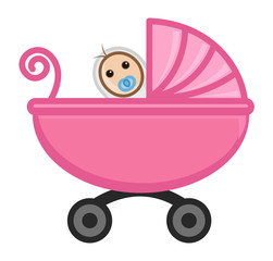 Baby in Babycart - Vector Character Cartoon Illustration