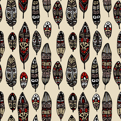 Vintage Feathers. Seamless background.