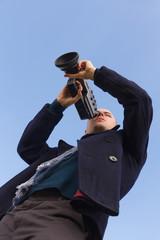 Joven Cameraman Filmando en Cine Super 8 mm