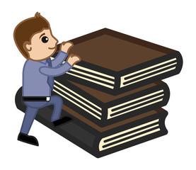 Man Climbing on Books - Vector Illustration