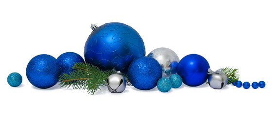 Christmas Baubles with young Spruce tree branches isolated on wh