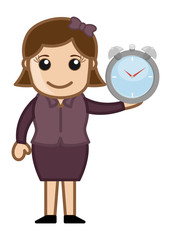 Woman Holding Watch - Vector Illustration