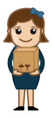 Woman Holding Fragile Box - Vector Illustration