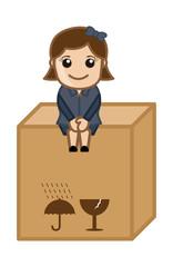 Sitting on a Fragile Box - Vector Illustration