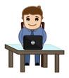 Working on Laptop - Vector Illustration