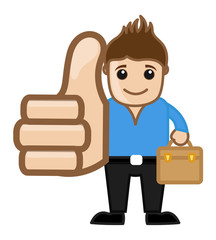 Cool Man Thumbs Up Concept - Vector Illustration