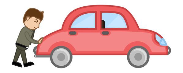 Pushin a Car Vector - Vector Illustration