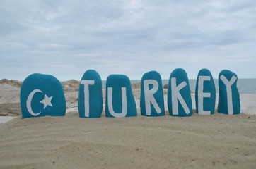 Turkey nation, souvenir on turquoise painted stones