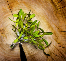 mistletoe branch on a wooden background
