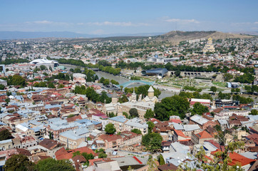 Cityscape of old Tbilisi , view from Narikala fortress