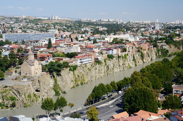 Panoramic view of old Tbilisi , view from Narikala fortress