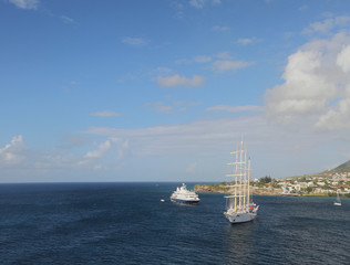 Motor and sailing yachts at coast of Saint Kitts