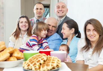 Portrait of  large family at home
