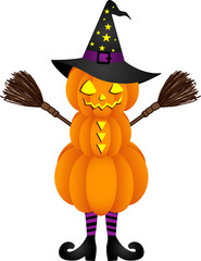 Halloween pumpkin doll with witch hat