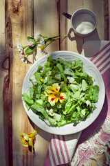 Cucumber salad with leccuce and boiled eggs, country style photo