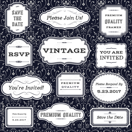 Vintage Frames on Damask Background poster