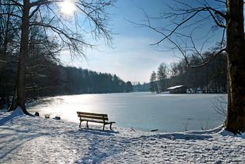 Waldweiher Burbach– Zugefrorener See mit Schnee im Winter