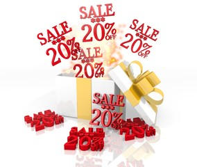 christmas present with Christmas sale 20 percent off icon