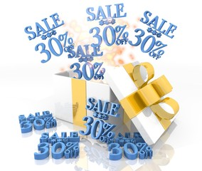 christmas present with Christmas sale 30 percent off icon
