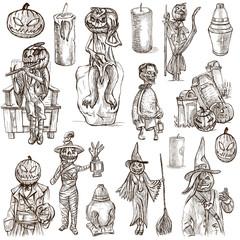 Halloween, Jack o Lantern - An hand drawn pack on white