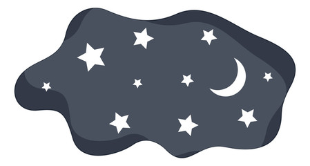 Moon and Stars in Night Sky Vector