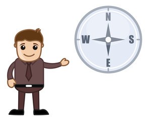 Man Showing Compass Cartoon Vector