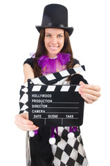 Woman with movie board on white