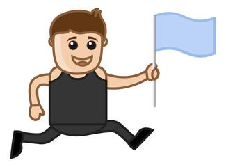 Man Running Holding a Flag in Hand - Cartoon Vector