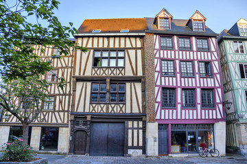 Traditional french houses on the street of Rouen