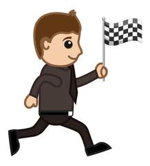 Cartoon Vector Character - Racing Flag in Hand