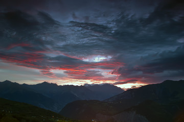 dawn in the mountains, France