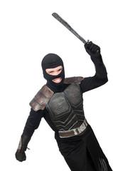 Ninja with knife isolated on white