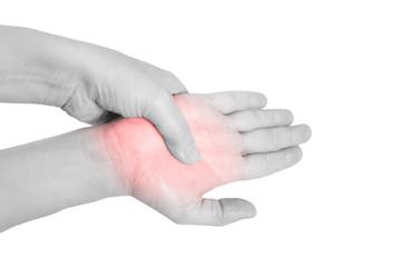 Handflächen Schmerz - schwarz weiß isoliert