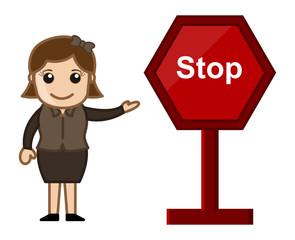 Cartoon Vector - Stop Sign
