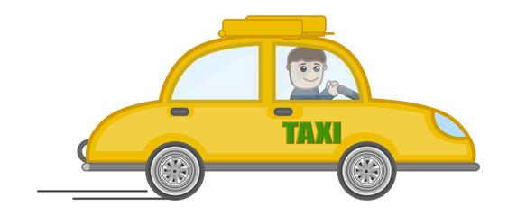Cartoon Vector - Man Driving a Taxi