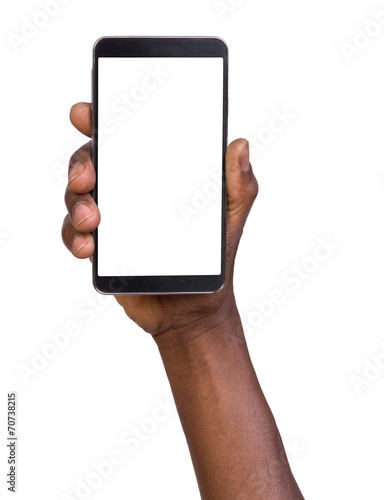 Leinwanddruck Bild Hand holding smart phone with blank screen