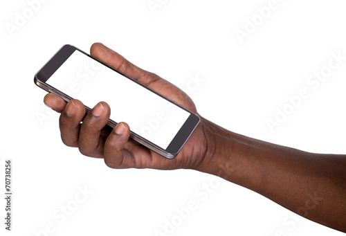 Hand holding smart phone with blank screen - 70738256